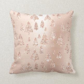 Rosa Rosen-Goldmetallische Glitzer-Weihnachtsbäume Kissen