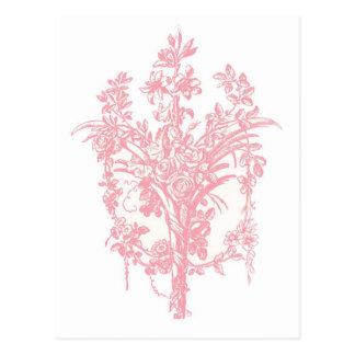 Rosa Rosen-Grafik Postkarten