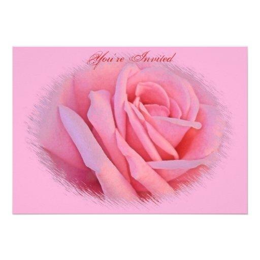 Rosa Rosen-Hochzeits-Einladung