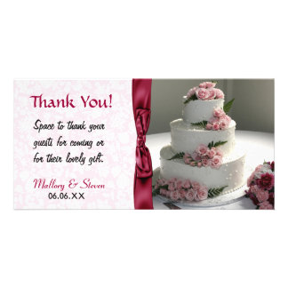 Rosa Rosen-Hochzeits-Kuchen Fotokartenvorlagen