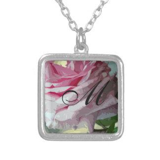 Rosa Rosen-Konfektionsartikel-Initialen-Halskette Halskette Mit Quadratischem Anhänger