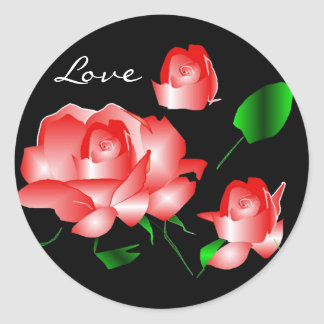 """Rosa Rosen-Liebe-"" Aufkleber"