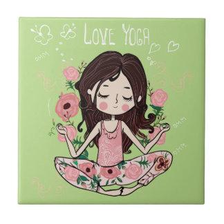 Rosa Rosen-Mädchen-Liebe-Yoga Keramikfliese