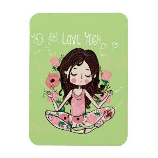 Rosa Rosen-Mädchen-Liebe-Yoga Magnet