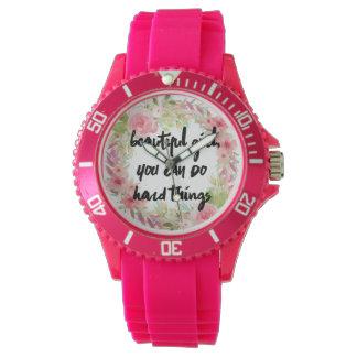 Rosa Rosen-Mädchen-Power-Uhr Armbanduhr