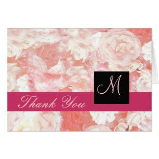 Rosa Rosen-Monogramm danken Ihnen zu kardieren Karte