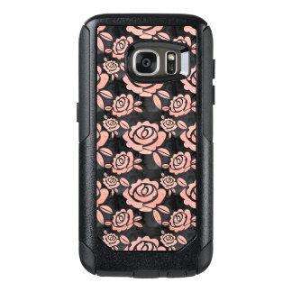 Rosa Rosen ona ein schwarzes Backround OtterBox Samsung Galaxy S7 Hülle