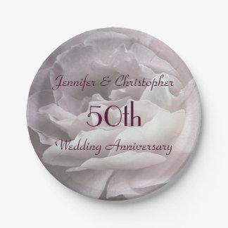 Rosa Rosen-Papier-Teller, 50. Hochzeits-Jahrestag Pappteller 17,8 Cm