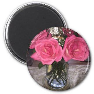 Rosa Rosen Runder Magnet 5,7 Cm