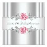 Rosa Rosen-Silber-25. Hochzeits-Jahrestag Ankündigung