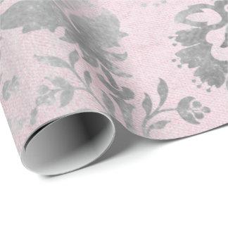 Rosa Rosen-silbernes Grau-BlumenHütte Grung Damast Geschenkpapier
