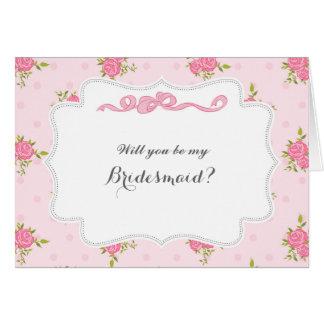 Rosa Rosen sind Sie sind meine Brautjungfern-Karte Karte