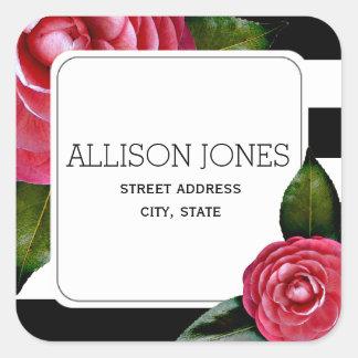 Rosa Rosen + Streifen-Adressen-Aufkleber Quadratischer Aufkleber