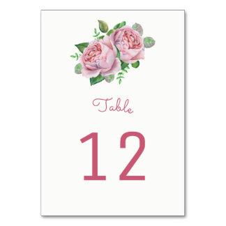 Rosa Rosen-Tischnummer-Karten Karte