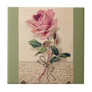 Rosa Rosen-u. Spitze-Romance mit BlumenVintages Fliese