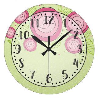 Rosa Rosen-Uhr Große Wanduhr
