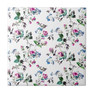Rosa Rosen-und blaue Blumen-Blumenentwurf Fliese