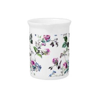 Rosa Rosen-und blaue Blumen-Blumenentwurf Getränke Pitcher