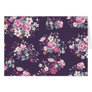 Rosa Rosen-und Gänseblümchen-Muster-mit Karte