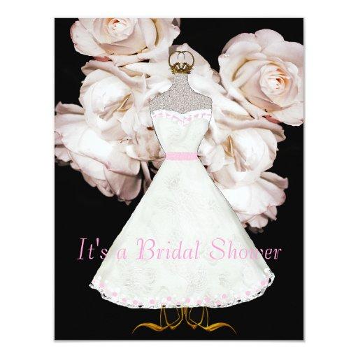 Rosa Rosen und KleiderBrautparty-Einladung 10,8 X 14 Cm Einladungskarte