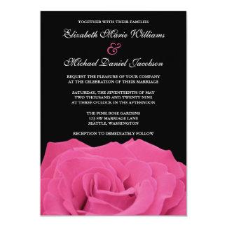 Rosa Rosen-und Schwarz-Hochzeit 12,7 X 17,8 Cm Einladungskarte