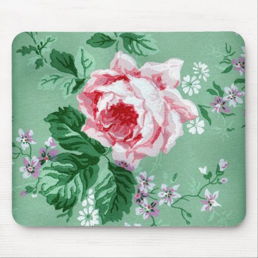 rosa rosen vintage tapete mousepad zazzle. Black Bedroom Furniture Sets. Home Design Ideas