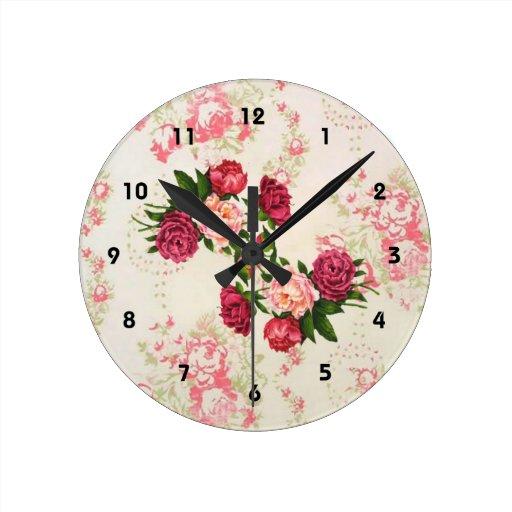 rosa rosen wand uhr wanduhren zazzle. Black Bedroom Furniture Sets. Home Design Ideas