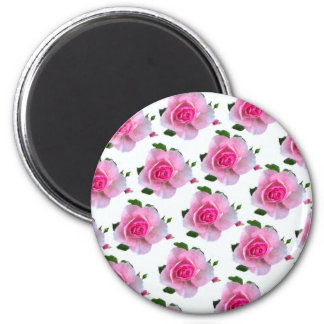 Rosa Rosen-Weiß Runder Magnet 5,7 Cm