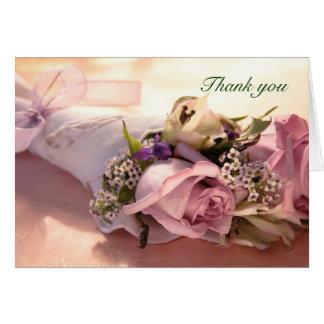 rosa Rosenblumenstrauß mit Band danken Ihnen zu Karte