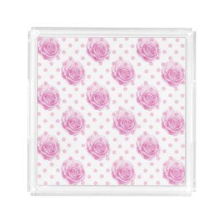Rosa Rosenmuster Acryl Tablett