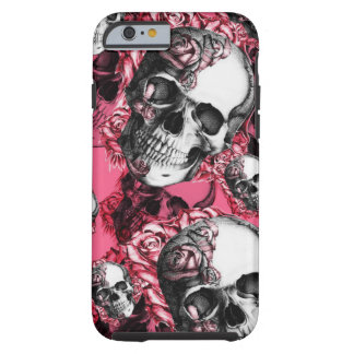 Rosa Rosenschädelmuster Tough iPhone 6 Hülle