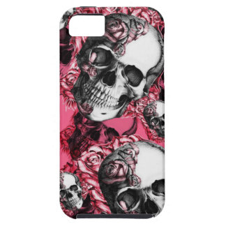 Rosa Rosenschädelmuster iPhone 5 Etui