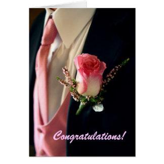 Rosa Rosenschwarzes Tuxedo Tux, Glückwünsche! Grußkarte