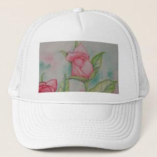 Rosa Rosenweicher romantischer Watercolor-Girly Truckerkappe