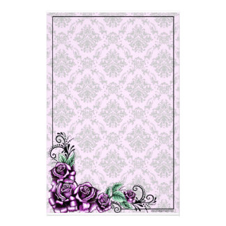 Rosa Rosevalentine-barockes Muster-Briefpapier Bedrucktes Papier
