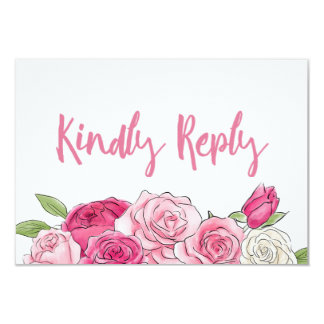 Rosa Rosewatercolor-Blumenhochzeit UAWG Karte