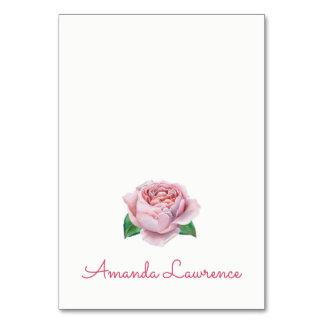 Rosa Rosewatercolor-personalisierte Platzkarten Karte