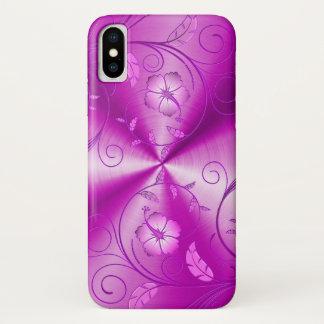 Rosa rostfreier Stahl mit prägeartigen Retro iPhone X Hülle