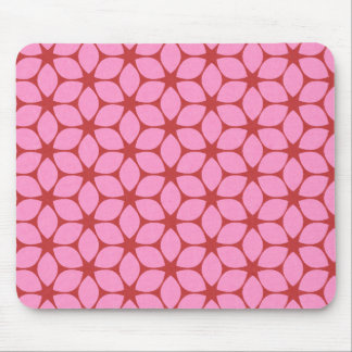 Rosa rotes geometrisches Blumen-Muster Mousepads