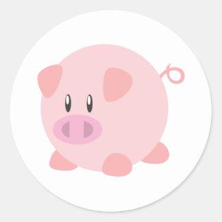 Rosa rundes Schwein Runder Aufkleber