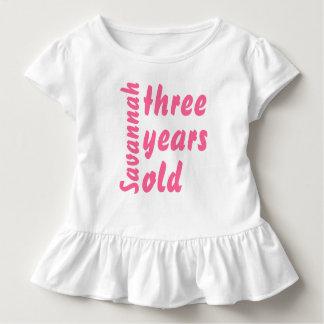 Rosa Rüsche-niedliches Baby-Mädchen drei Jahre Kleinkind T-shirt