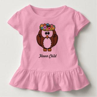 Rosa Rüsche-Shirt des Blumen-Kronen-Eulen-Kindes Kleinkind T-shirt