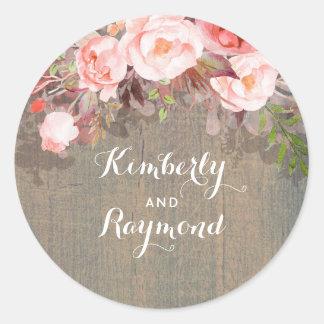 Rosa rustikale Scheunen-mit Blumenhochzeit Runder Aufkleber