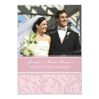 Rosa SahneFoto-gerade verheiratete 12,7 X 17,8 Cm Einladungskarte