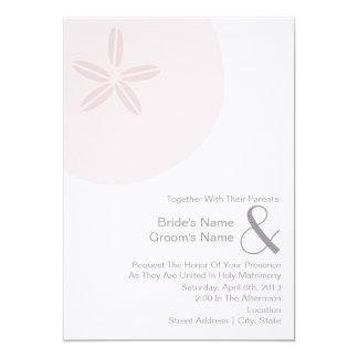 Rosa Sand-Dollar-Hochzeit - zusammen mit Eltern 12,7 X 17,8 Cm Einladungskarte