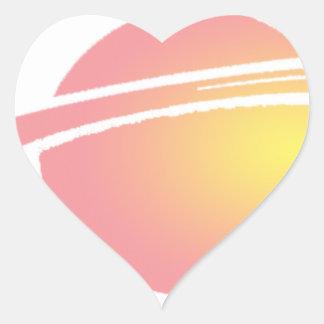 Rosa Saturn Herz-Aufkleber