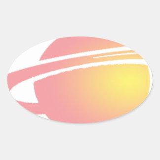 Rosa Saturn Ovaler Aufkleber