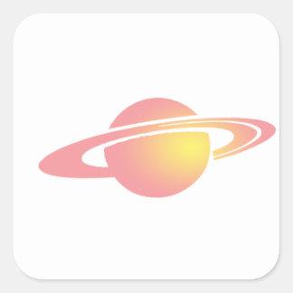 Rosa Saturn Quadratischer Aufkleber