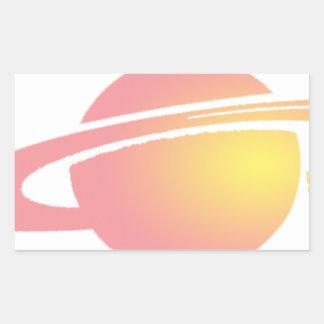Rosa Saturn Rechteckiger Aufkleber