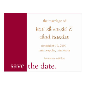 Rosa Save the Date modern Postkarte
